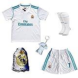 2017/2018 Real Madrid Cristiano Ronaldo #7 Home Football Soccer Kids Jersey & Short & Sock & Soccer Bag Youth Sizes