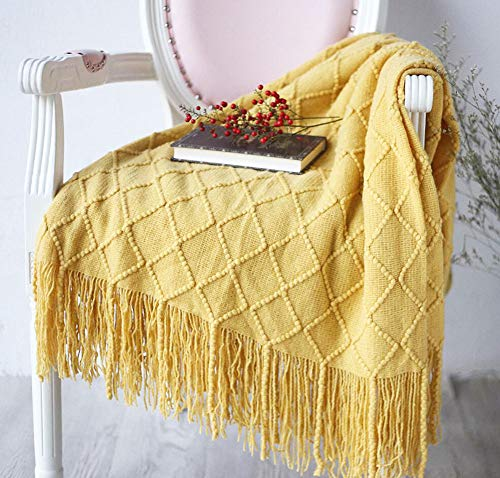 Cross Yellow Pattern (LAGHCAT Solid Blanket Diamond Pattern Cross Woven Couch Throw Yellow Knitted Blankets with Decorative Fringe Lightweight for Bed or Sofa, 50