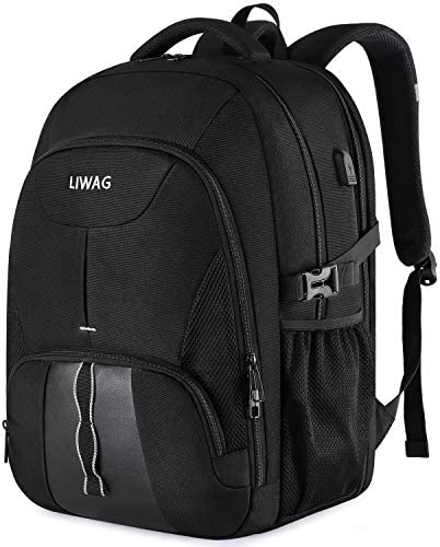 Extra Large Backpack for Men,Durable Travel Laptop Backpack Gifts for Women Men with USB Charging Port,TSA Friendly Big Business Computer Bag College School Bookbags Fit 17 Inch Laptops 45L,Black