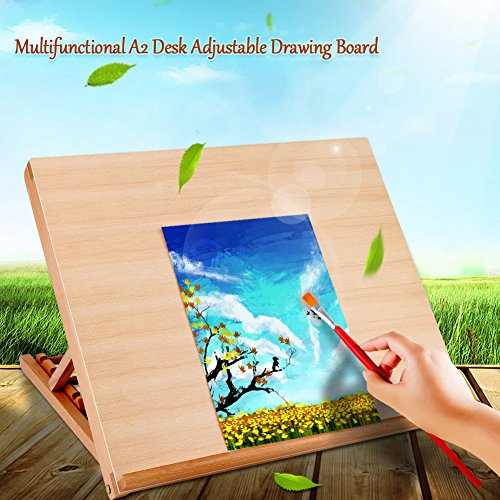 Wood Drawing Board,Multifunctional A2 Desk Adjustable Wood Drawing Art Sketching Board Supply for Painting Lovers Students Kids Large by Estink
