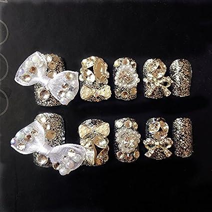 24 uñas postizas con diseño para bodas YuNail decoradas con perlas brillantes