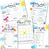 Baby Shower Games My Sunshine | 5 Games 50 Sheets Each 5x7 inches | Fun and Easy to Play Activities | Baby Predictions and Wishes/Advice, Bingo, What's on Your Phone, Word Scramble and Price It Right