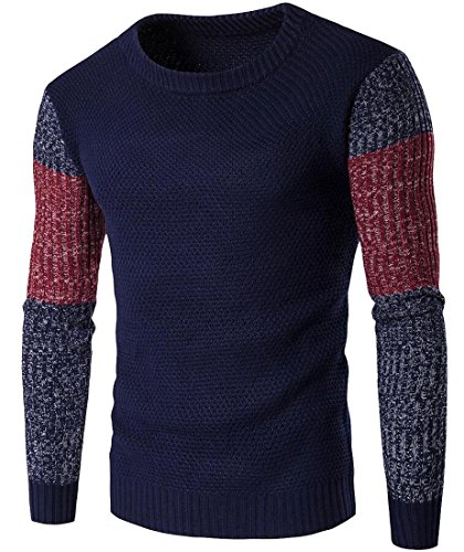discount GAGA Men's Colorblock Ribbed Pullover Crew Neck Sweater supplies