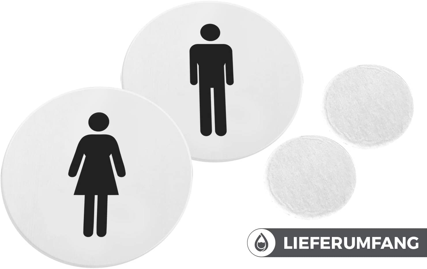 Stickers WC avec Signes pour Toilettes Unisexes Stickers Porte Ronds en Aluminium Facile /à Appliquer Set de 2-12 x 12 x 0.15 cm Bamodi Stickers Toilette Adh/ésifs XXL