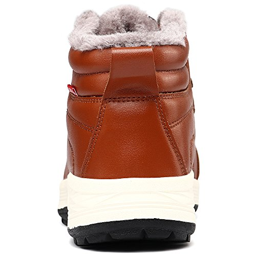 VILOCY Mens Warm Leather Waterproof Snow Boots Anti-slip Fur Lined Ankle Sneakers High Top Shoes Brown ITaOTyOfI