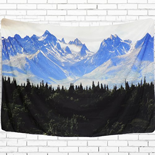 "Wall Tapestry Vivid Landscape Tapestry Snow Mountain with Trees Forset Tapestry Wall Hanging Tapestry for Living Room Bedroom (59""×82"", Mountain)"