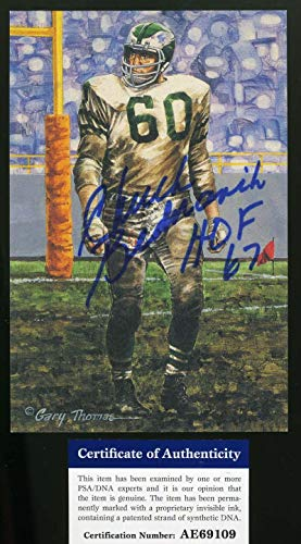 CHUCK BEDNARIK HOF 67 PSA DNA Autograph Goal line Art Card GLAC Hand Signed from KHW HALL OF FAME GALLERY