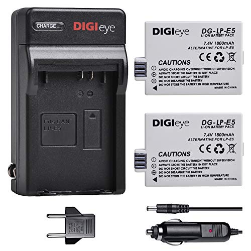 DIGIeye LP-E5 Battery (2 Pack) and Charger for Canon LP-E5, EOS Rebel XS, Rebel T1i, Rebel XSi, 1000D, 500D, 450D, Kiss X3, Kiss X2, Kiss F, LC-E5, CBC-E5