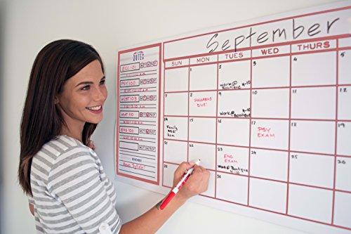 College Dorm Wall Planner – Class Planner and Wall Calendar - Red Monthly Calendar & Class Schedule