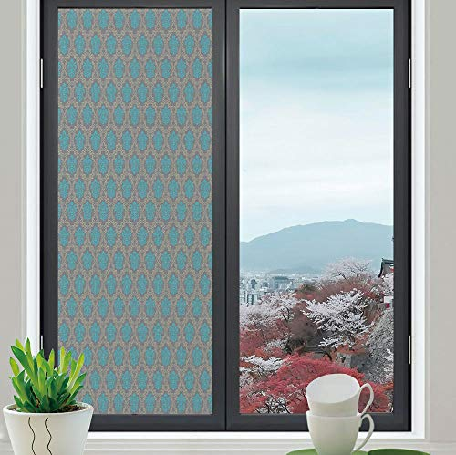 YOLIYANA Privacy Window Film Decorative,Damask,for Glass Non-Adhesive,Venetian Style Damask Swirled Lines and Blossoms Italian,24''x70''
