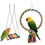 2pcs Parakeets Bird Swing, Doubletwo Parrot Toys Bird Cage Accessories Bird Toys for Cockatiels Parrot Supplies Small Bird Swing