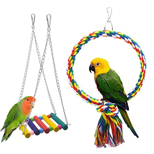 2pcs Parakeets Bird Swing, Doubletwo Parrot Toys Bird Cage Accessories Bird Toys for Cockatiels Parrot Supplies Small Bird Swing by Doubletwo