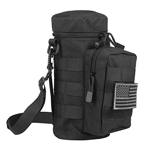 AMYIPO Tactical MOLLE Water Bottle Pouch Holder Storage Bag for 32oz Carrier (Black)