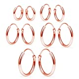 Sterling Silver Endless Hoop Earrings Set Of Five 1.2mm x 8, 10, 12, 14, 16mm Thin Round Unisex Rose Gold Flashed