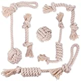 Cheap DOG ROPE CHEW TOYS DYE FREE – 100% NATURAL WHITE COTTON – SAFE FOR SMALL TO MEDIUM PUPPIES – THICK KNOT ROPE AND TUG OF WAR BALLS – TEETHING TOYS FOR DENTAL HEALTH