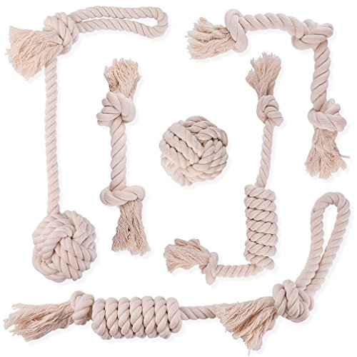 DOG ROPE CHEW TOYS DYE FREE - 100% NATURAL WHITE COTTON - SAFE FOR SMALL TO MEDIUM PUPPIES - THICK KNOT ROPE AND TUG OF WAR BALLS - TEETHING TOYS FOR DENTAL HEALTH by Yangbaga