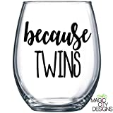 BECAUSE TWINS BLACK Stemless Wine Glass -21 OZ BECAUSE TWINS Stemless Wine Glass