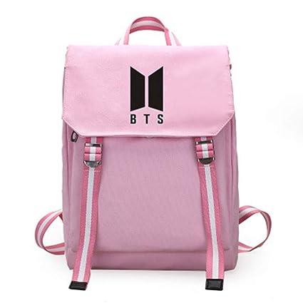 NUOFENG Kpop Cartoon BTS Backpack Bangtan Boys Satchel Schoolbag Casual  Daypack Laptop Bags (Pink 3