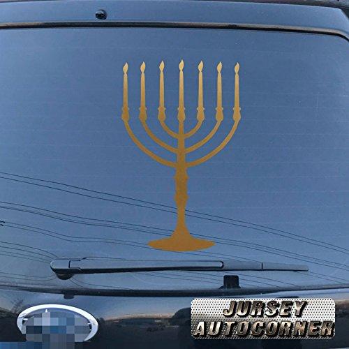 3S MOTORLINE Menorah Jewish Israel Jew Car Vinyl Decal Bumper Sticker 7 Branch pick color size (gold, 4'' (10.2cm)) -