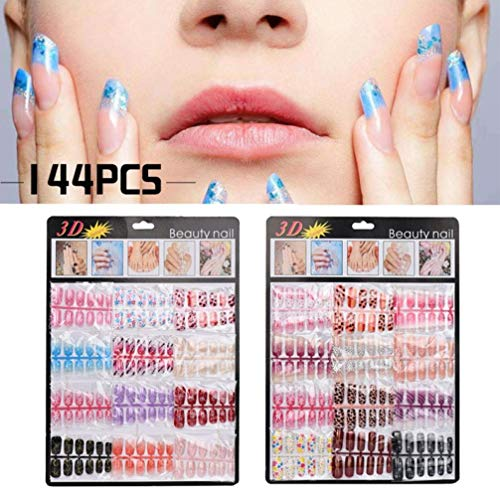 Gaddrt 144Pcs Nail Tips Artificial Fake Nails Art Acrylic Manicure Gel...