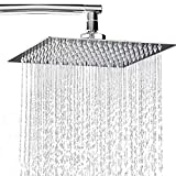 cool outdoor shower heads Rainfall Shower Head 8 inch, Solid Stainless Steel Square Rain Showerhead Ultra Thin Water Saving Chrome Finish