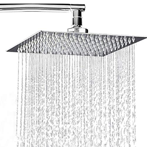 8in Showerhead (Rainfall Shower Head 8 inch, Solid Stainless Steel Square Rain Showerhead Ultra Thin Water Saving Chrome Finish)