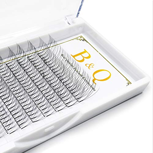 Premade Volume Fans Eyelash Extensions 3D 12 Rows/Tray Short Stem Russian Volumes Lashes Extensions Fans 0.07/0.10 mm C/D Curl 9-15mm Individual Cluster Eyelash Extensions(3D-D curl-0.07, 16)