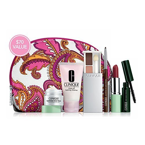 Clinique Gift Set with 7 Daily Essentials: Repairwear Laser Focus Wrinkle Correcting Eye Cream, Rinse Off Foaming Cleanser, High Impact Mascara, All About Shadow Duo, Quickliner for Eyes Intense, Long Last Lipstick, Cosmetic Bag