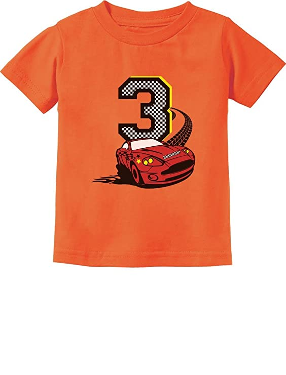 3rd Birthday 3 Year Old Boy Race Car Party Toddler Kids T-Shirt 2T Orange