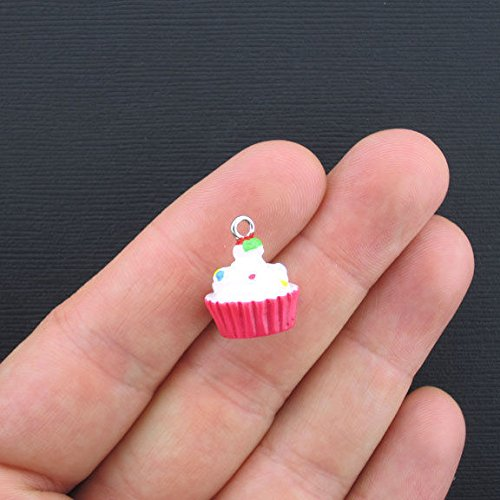 Icing Charm Necklace - Charm - 2 Cupcake Charms Resin with White Icing 3D - SC2545