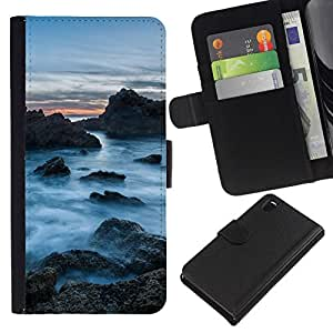 NEECELL GIFT forCITY // Billetera de cuero Caso Cubierta de protección Carcasa / Leather Wallet Case for Sony Xperia Z3 D6603 // Rocas Nubladas