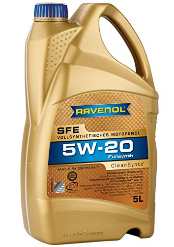 RAVENOL J1A1504 SAE 5W-20 Motor Oil - SFE Super Fuel Economy Full Synthetic API SN / SM & ILSAC GF-4 / GF-5 Licensed (5 Liter) by Ravenol