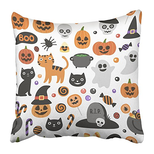 Emvency Throw Pillow Cover Square 16x16 Inches Cute Halloween Pattern Smiling and Funny Cartoon Characters Pumpkin Ghost Cat Bat Candy Jar Polyester Decor Hidden Zipper Print On Pillowcases -