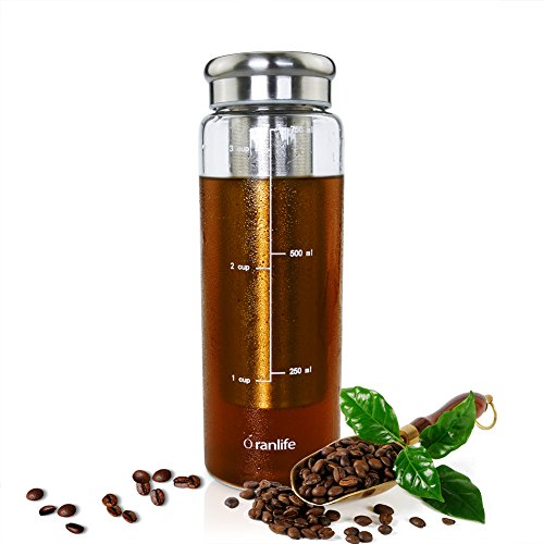 Cold Brew Coffee Bottle Oranlife 26oz Iced Tea Brewing Coffee with Deep Removable Stainless Steel Filter for Travel, Outdoor