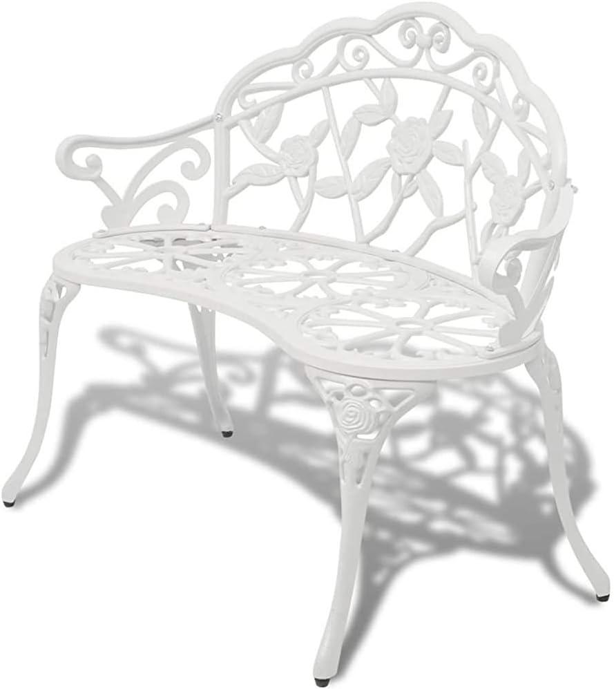 Garden Bench panchina del parco panchina di ferro banco di mobili da giardino 2 posti in alluminio bianco,White