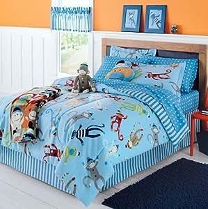 amazon com sock monkey complete 6 piece bedding set