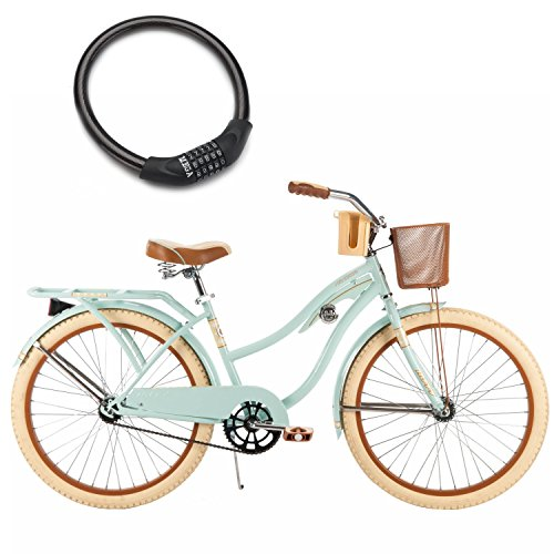 """24"""" Huffy Nel Lusso Cruiser Bike for Women with Wire Basket and Bike Cable Lock (Mint Green)"""
