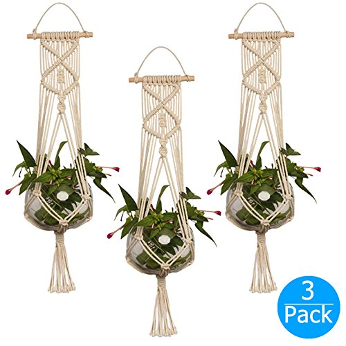 Hanging Planter, EEEkit 3-Pack Macrame Plant Hanger Indoor Outdoor Hanging Planter Basket Jute Cotton Rope Braided Craft, 4 Legs 37 inch by EEEKit