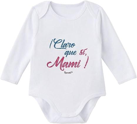 SUPERMOLON Body bebé manga larga Claro que sí mami Blanco algodón ...