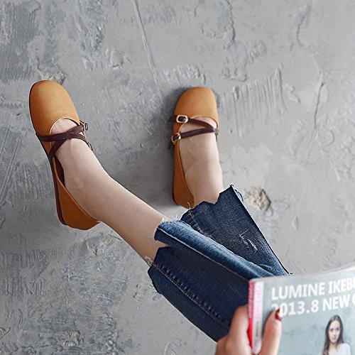 couleur uk3 Pour Chaussures Autumn Career Comfort Noir Lady Le amp; Eu36 cn35 5 Toe Pu Round Shoes Sport Fufu Jaune Flat Office De Flats Summer Casual Heel Taille q6gxrqfHw