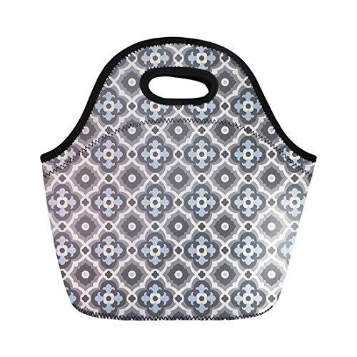 (Semtomn Lunch Tote Bag Floor Tiles Vintage Pattern Quatrefoils Plain Colors Easy Reusable Neoprene Insulated Thermal Outdoor Picnic Lunchbox for Men Women)