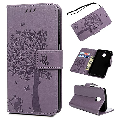 For Samsung Galaxy J3 2018 Case, Galaxy J3 Achieve Case Wallet, J3 Express Prime 3/J3 Eclipse 2/J3 Orbit/J3 Prime 2/Amp Prime 3/j3 emerge 2018 Wallet Case Cover Leather Bumper Kickstand Skin - Purple