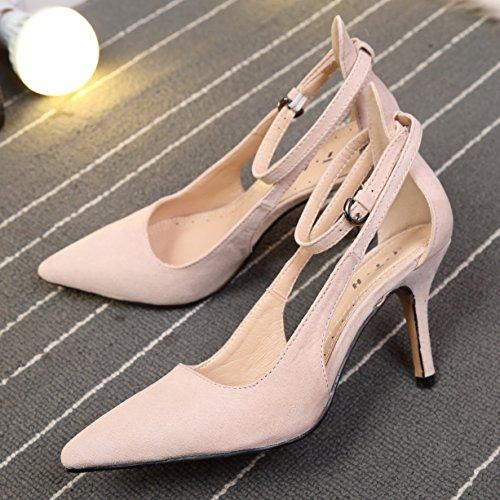 Pointu Chaussures Femme Résistant Escarpin Talons Beige Sandales Escarpins Aiguille Hauts Fermés qAZZW4