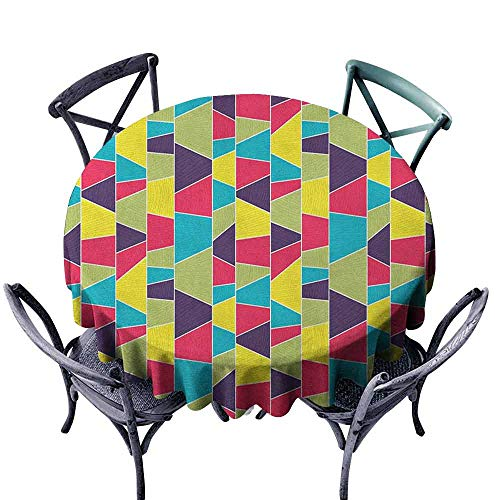 duommhome Colorful Fitted Tablecloth Mosaic Pattern with Lines and Hand Drawn Elements Borders with Trapezoid Shapes Easy Care D59 Multicolor