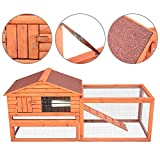 Pawhut Outdoor Guinea Pig Pet House/Rabbit Hutch Habitat with Run