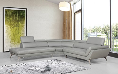 Limari Home LIM-72433 Destiny Collection Modern Living Room and Den Contemporary Italian Leather Sectional Sofa, Gray