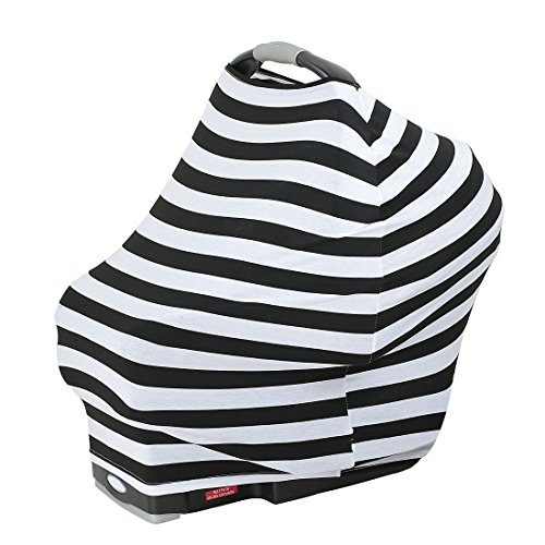 4 In 1 - Stretchy Baby Car Seat Covers Canopy, Breastfeeding Cover, Stroller Sunshade & Nursing Scarf - Black & White Stripes