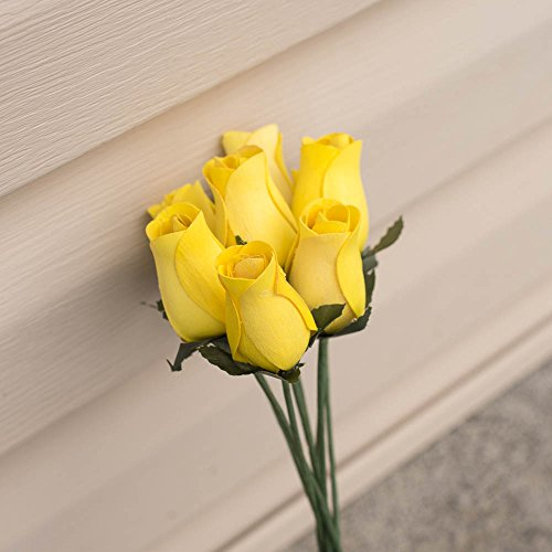 Wooden Rose 8 piece (pack) Yellow 13 inches