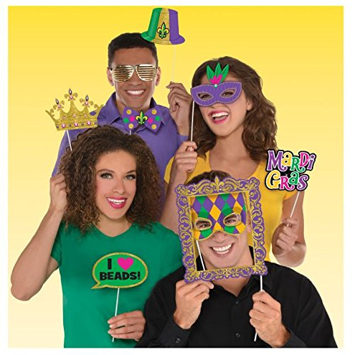 Amscan 399406 Mardi Gras Photo Prop Kit One Size Multicolor - Mardi Gras Pictures