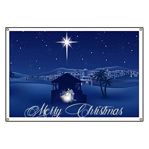 CafePress Merry Christmas Nativity Vinyl Banner, 44